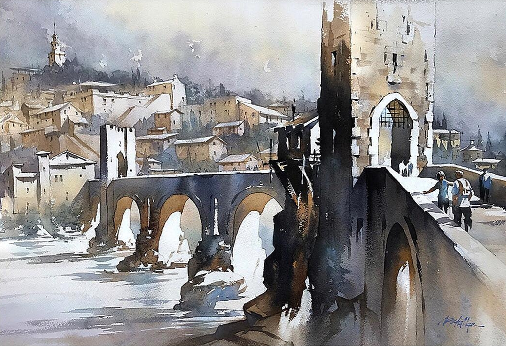 05-Besalu-Bridge-Thomas-Schaller-Watercolor-Paintings-Indoors-and-Outdoors-www-designstack-co