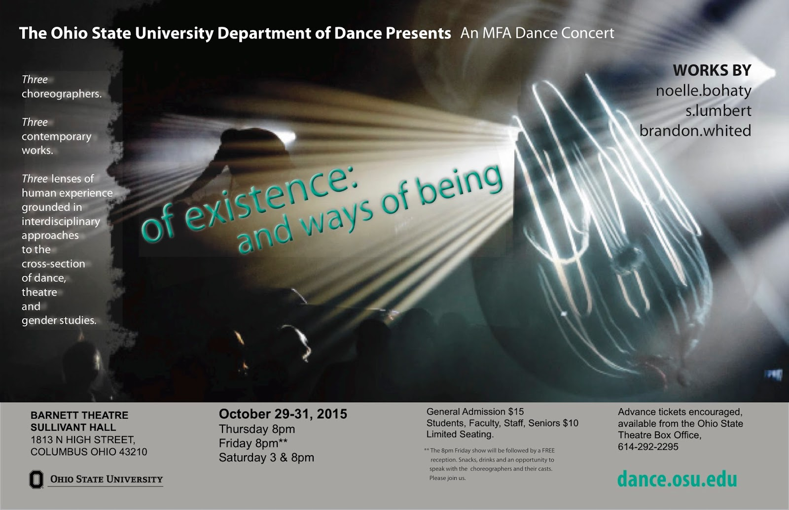 the ohio state university department of dance on blogger mfa concert of existence and ways of being features works from 3rd year mfa grads noelle bohaty s lumbert and brandon whited