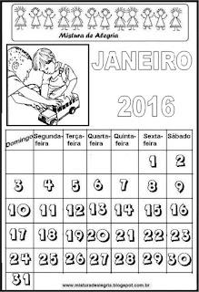 Calendário de 2016 - janeiro