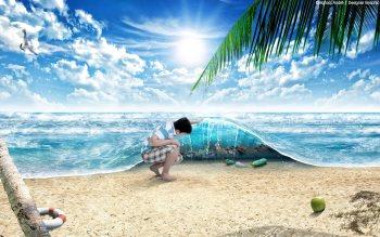 Wallpaper: Digital Art Sand, ocean & beach
