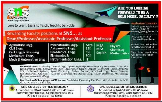 sns institutions wanted professor  associate professor  assistant professor