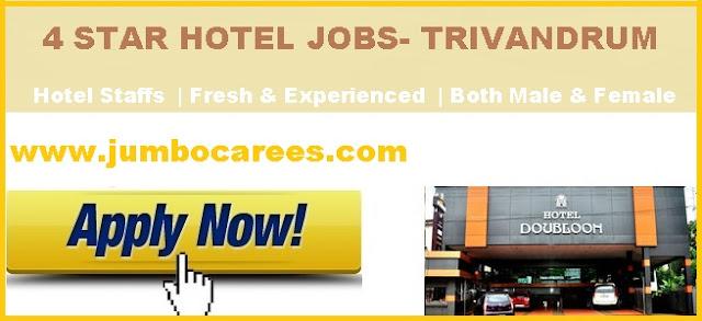 4 Star hotel jobs in Trivandrum.