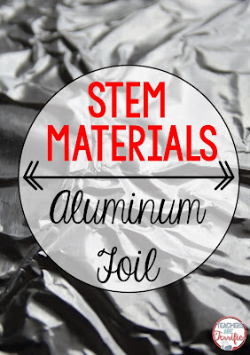Materials for STEM! Here's one that we use all the time- simple aluminum foil! Check this blog post for more ideas about the STEM materials that are must-haves!