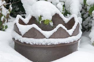 Victorian chimney pot in snow