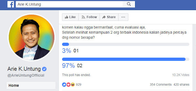 Polling Facebook Arie Untung : 97% Pilih 02, 3% Pilih 01