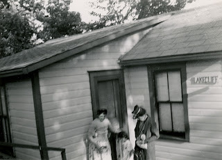 one of the old cabins in Tudhope Park, Orillia during the camping haydays - this image circa 1957