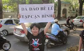 Nguyễn Thúy Hạnh trong cuộc biểu tình ngày 17/7