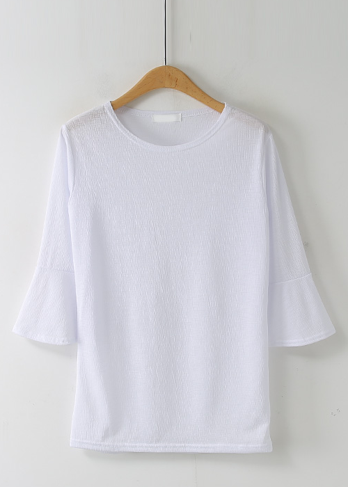 Trumpet-Sleeves Crepe T-Shirt