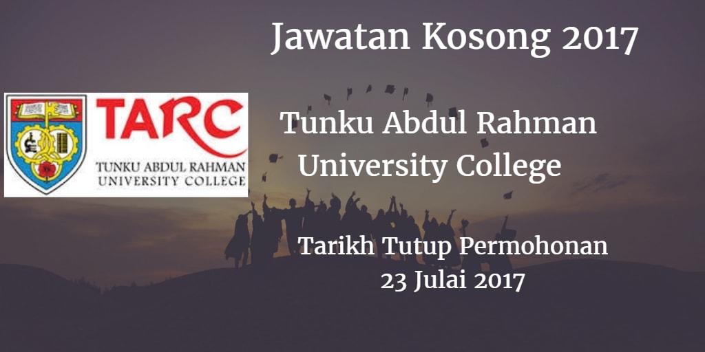 Jawatan Kosong TARUC 23 Julai - 12 Ogos 2017