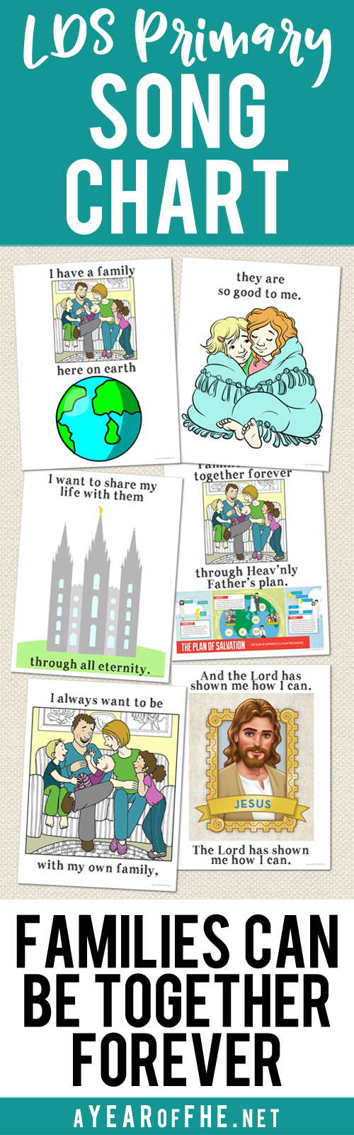 "A Year of FHE // Here's a free printable lyric chart to help Primary-age children learn the words to the song ""Families Can Be Togther Forever"".  #lds #primary #songs #temples"