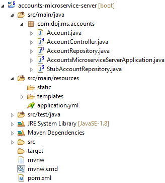 account microservice application