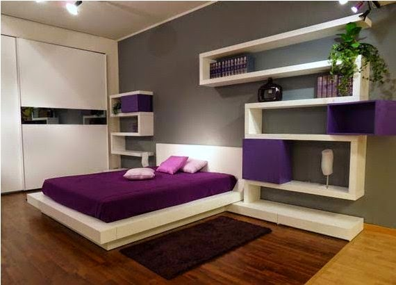 Interior Pilihan Desain Kamar Tidur Perpaduan Warna Ungu