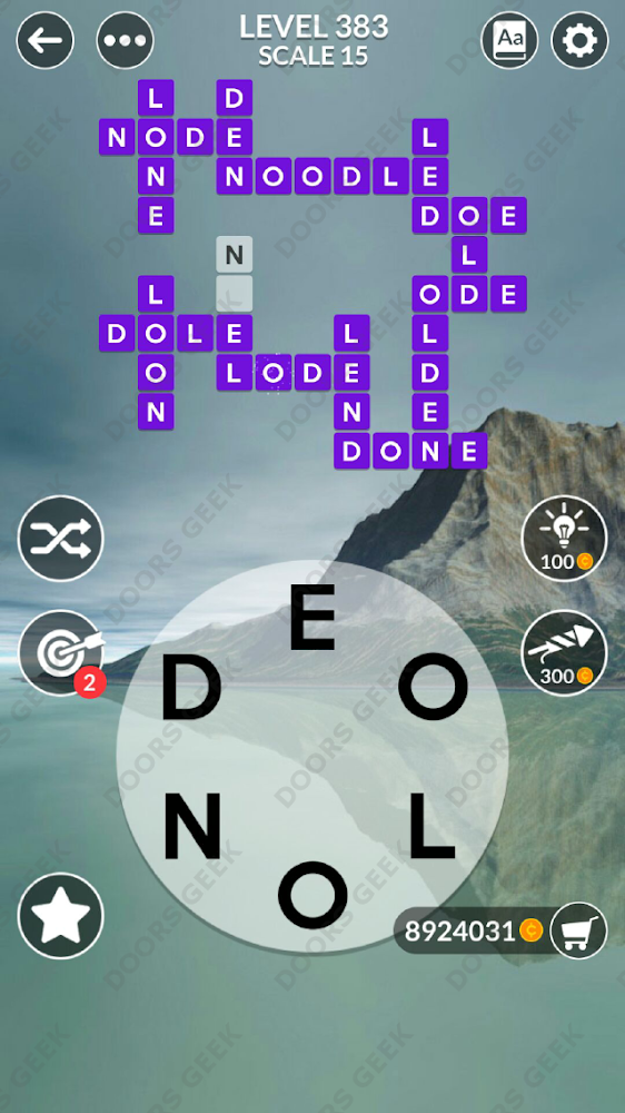 Wordscapes Level 383 answers, cheats, solution for android and ios devices.