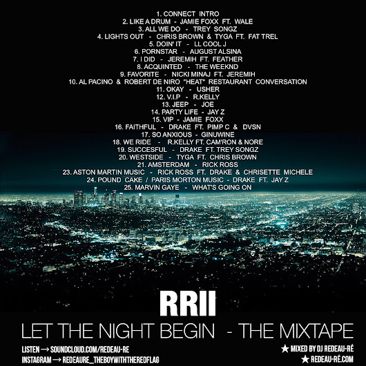 FOR ALL MY REAL LATE NIGHT LOVERSSS; IT'S HERE BABY. LISTEN/DOWNLOAD NOW: RR2 - LET THE NIGHT BEGIN - THE MIXTAPE!