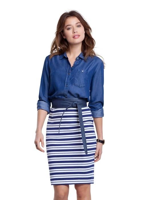 Wearing a Denim Shirt, High Waisted Striped Skirt with Obi Belt, Baukjen