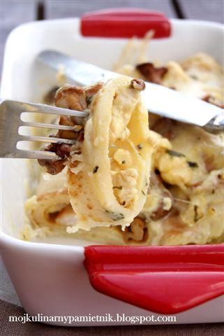 nalesniki, gorgonzola, kurki, grzyby, bernika, kulinarny pamietnik,zapiekanka