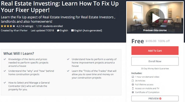 [100% Off] Real Estate Investing: Learn How To Fix Up Your Fixer Upper!| Worth 199,99$