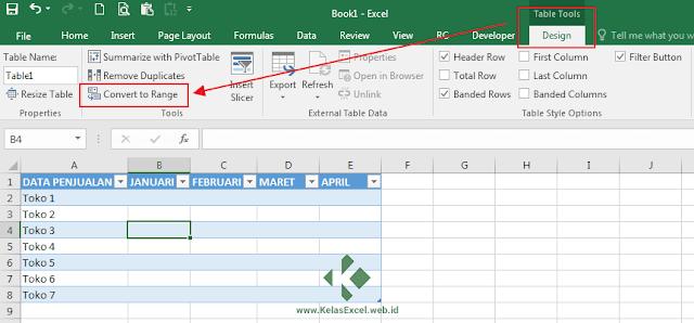 Cara Menghapus/Merubah Tabel Excel Menjadi Range