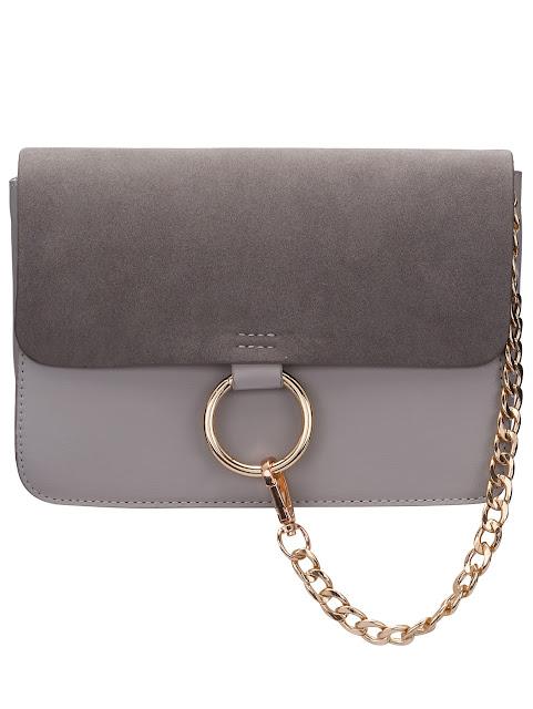Grey Chain Ring Embellished Satchel Bag