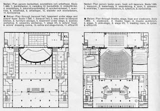 plans of theatre and banquetting hall, Folkets hus, Stockholm - Sven Markelius