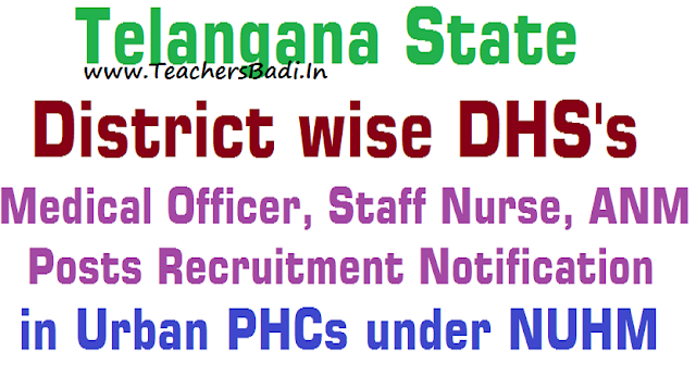 TS UPHCs Medical Officer, Staff Nurse, ANM Posts Recruitment 2016