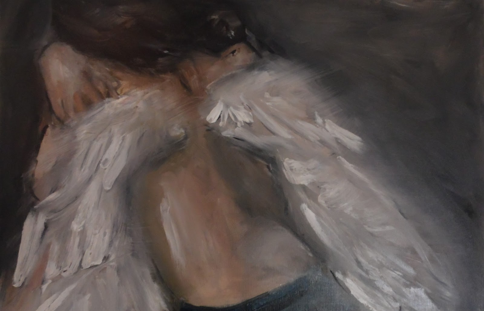Anastasia Rapantzikou   Saliari   my oil paintings on canvas  sad     sad angel 60x40cm