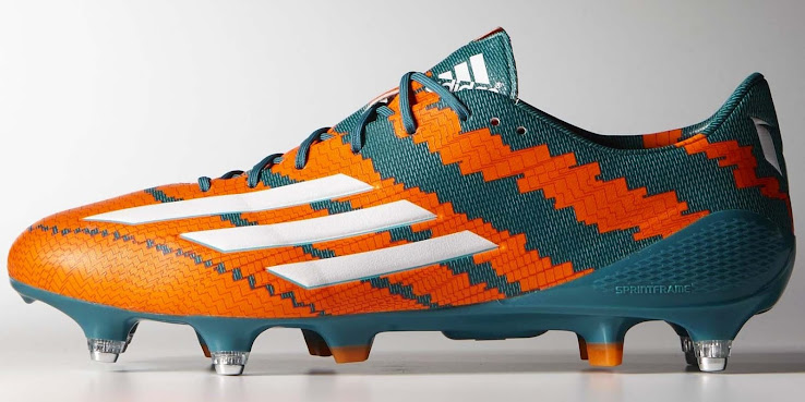 4b1ad61736bc Adidas Messi mirosar10 Power Teal / White / Solar Orange. This is the new Lionel  Messi 2015 Soccer Cleat.