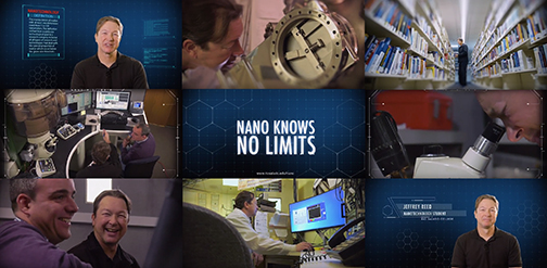 collage of images of a nanotechnology student in a lab, at a library, studying and poster in the middle with text that reads: Nano Knows No Limits