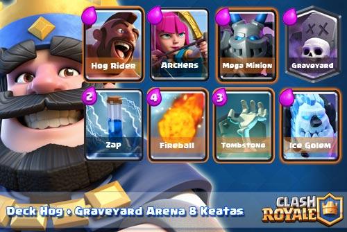 Strategi Deck Hog Rider Graveyard Spell Arena 8 Keatas