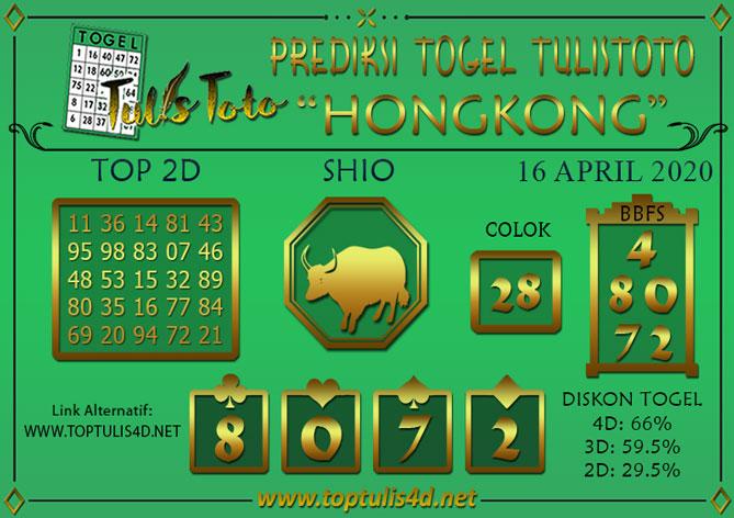 Prediksi Togel HONGKONG TULISTOTO 16 APRIL 2020