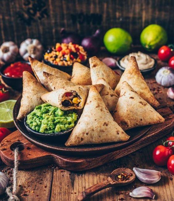Vegan Burrito Samosas with Guacamole and Cashew Dip