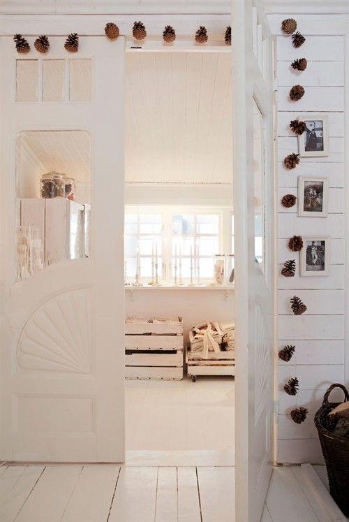 Swedish Farmhouse Christmas Decorating Interior Design white pinecones