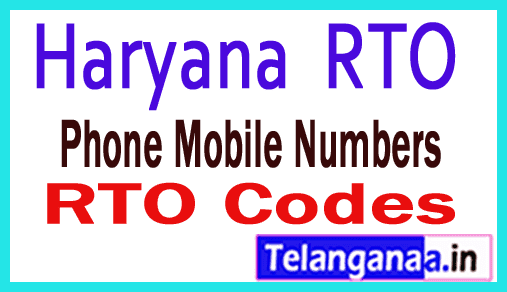 Haryana HR RTO Codes Phone Mobile Numbers and Pin Code