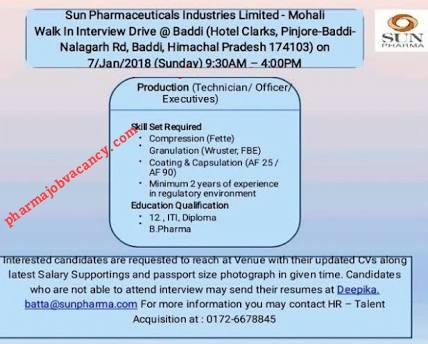 Sun pharma interviews on 07/8/2018 @ baddi | PHARMA JOBS