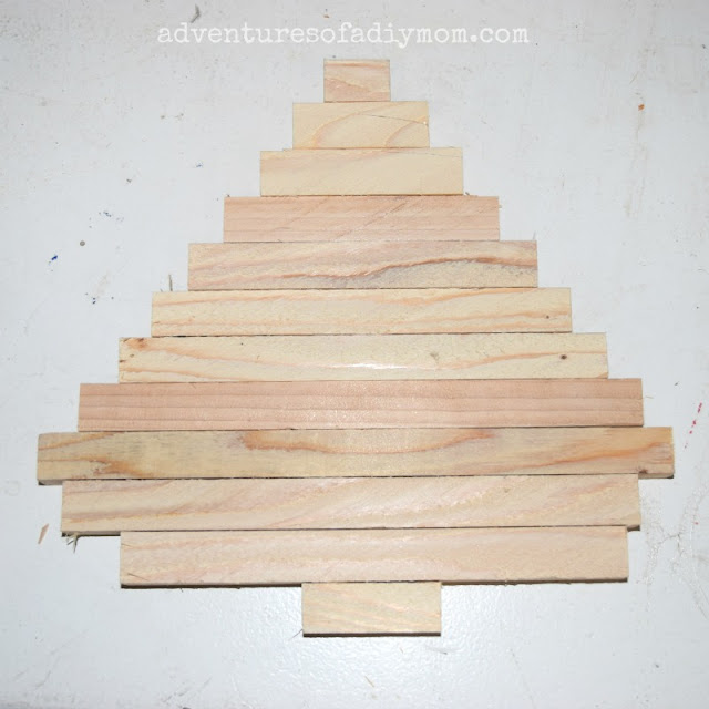 square dowels cut out for tree