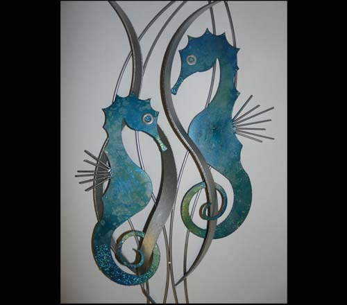 seahorse metal wall art allthingabout. Black Bedroom Furniture Sets. Home Design Ideas