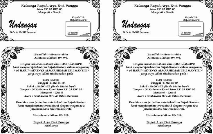 kumpulan undangan tahlil format doc