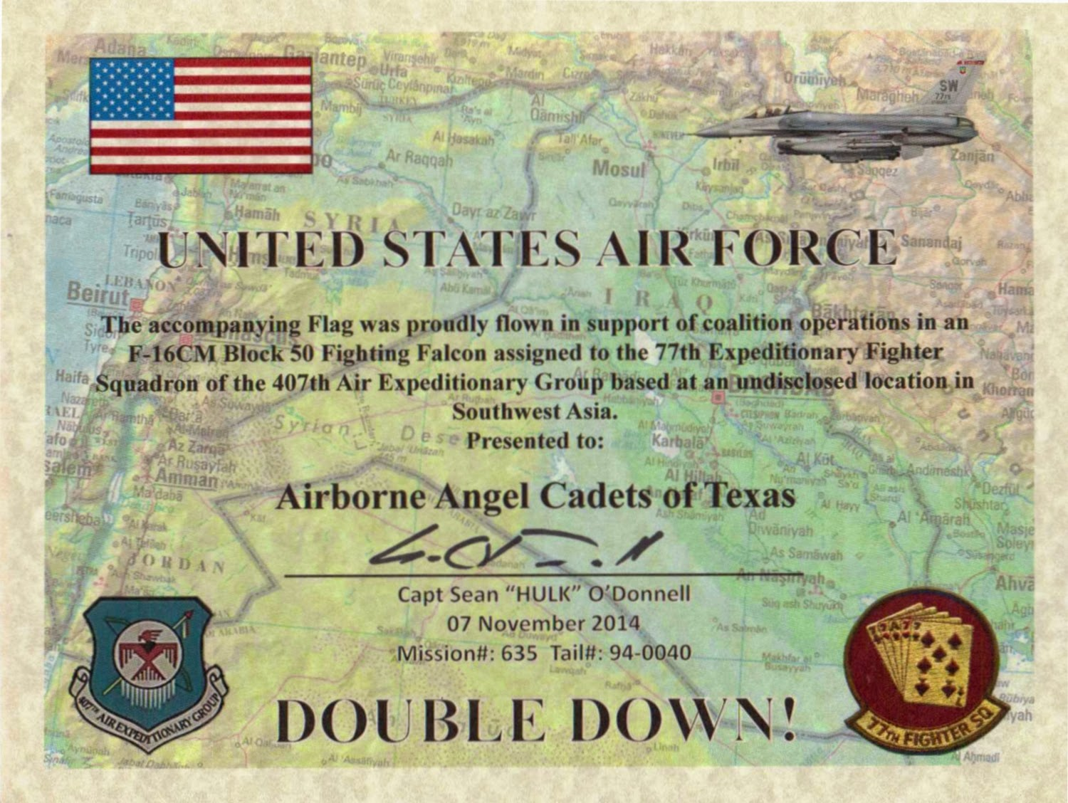 USAF Certificate for care packages received in 2014