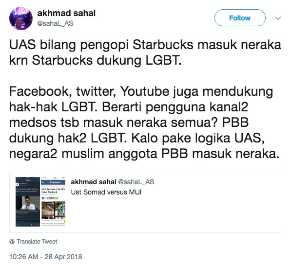 Orang Islam yang Beli Starbucks Masuk Neraka