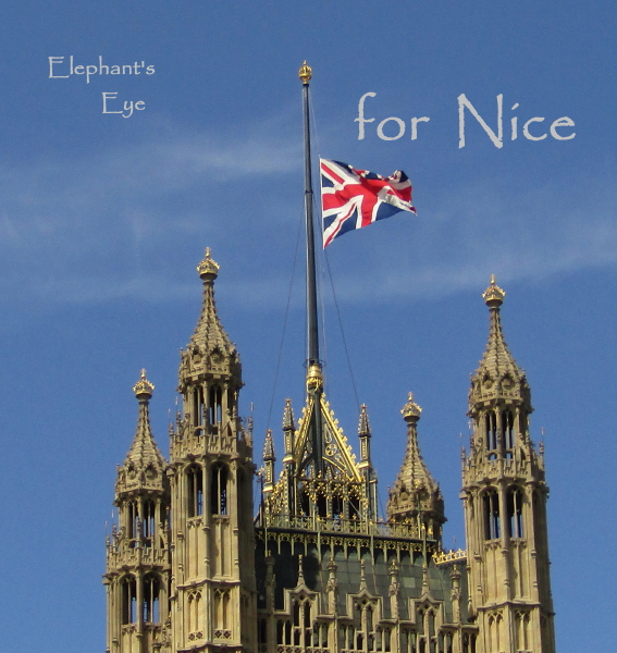 Victoria Tower flag at half mast for Nice