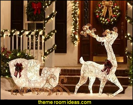 CHRISTMAS DECORATION YARD LAWN GARDEN REINDEER & SLEIGH LIGHTED