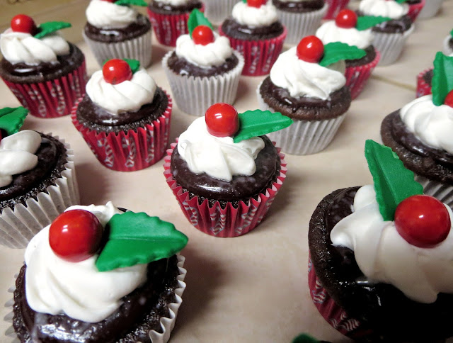 Christmas Chocolate and Peppermint Mini Cupcakes - Closer View of Holly Berry Cupcake 2