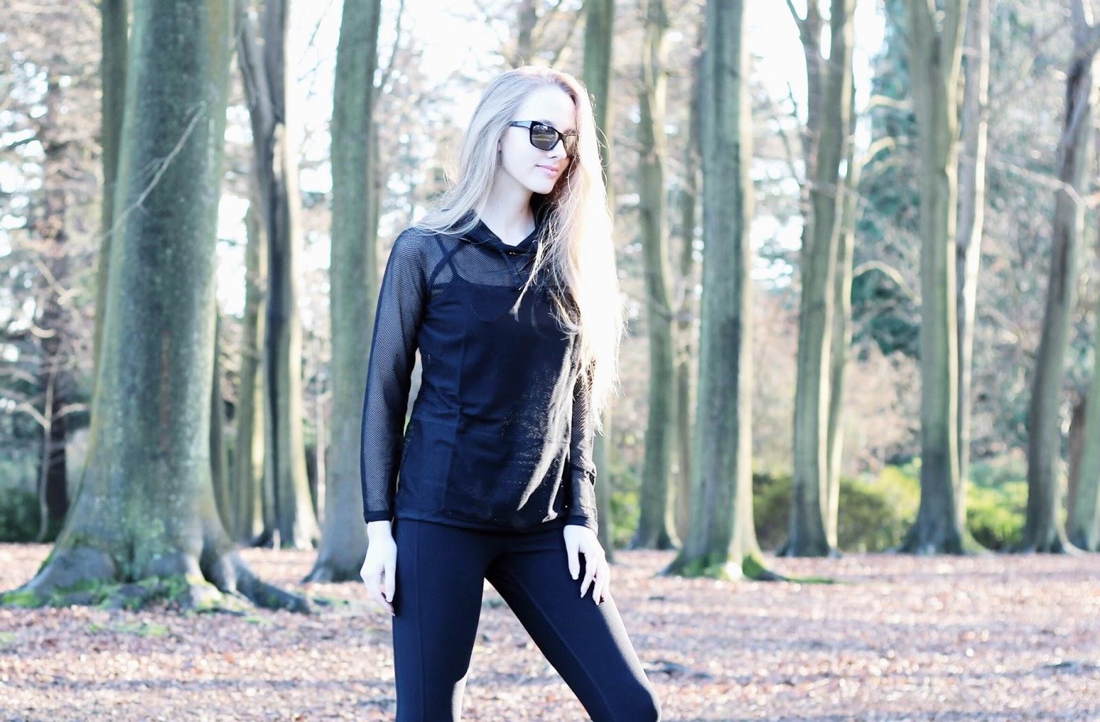 All black fitnesswear mesh top