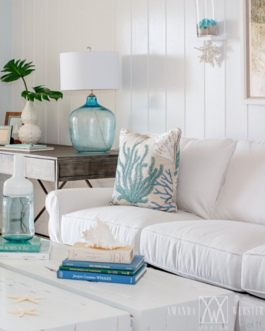 Elegant Beach House Decor: Breezy Condo Living Room In Beach Cottage Style