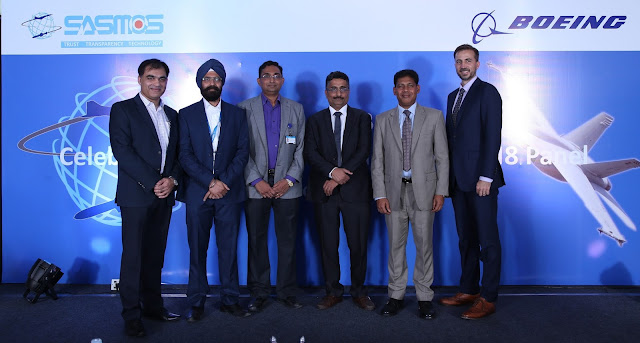 Anurag Verma, Boeing Defence, Space & Security Supplier Management; Paramjeet Singh, Technical Director, SASMOS; Santhana Kumar, SASMOS Sales & Marketing; HG Chandrasekhar, Managing Director of SASMOS;  Pratyush Kumar, President, Boeing India; and Michael Koch, Vice President, Boeing Defense, Space & Security at the delivery ceremony of the first F/A-18 fighter aircraft electrical panel assembly by SASMOS to Boeing