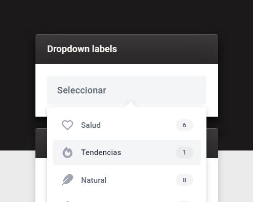 Gadget lista de etiquetas desplegable