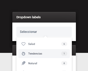 Widget de etiquetas desplegables