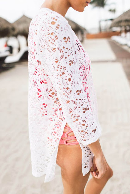 Hello Fashion, Christine Andrew in beachwear, crochet white swimsuit cover up