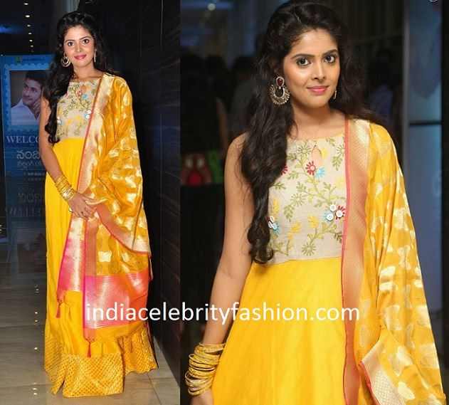 Actress Shravya in Yellow Floor Length Anarkali