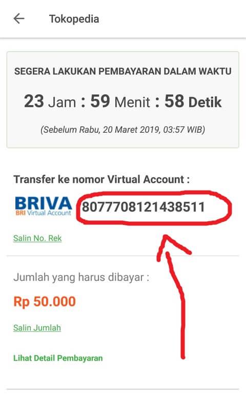 Transfer Pembayaran Tokopedia